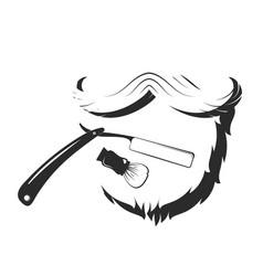 beard and razor for barbershop vector image