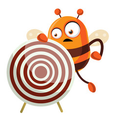bee holding a target on white background vector image