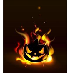 Burning Halloween lantern vector image