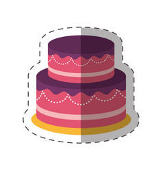 Cake dessert party shadow vector