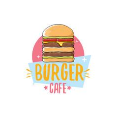 cartoon burger cafe logo design template vector image