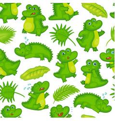 Cartoon crocodile baand tropical leaves vector