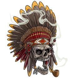 cartoon skull in american indian chief headdress vector image