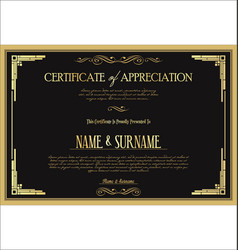 Certificate or diploma retro vintage template 07 vector