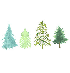colorful christmas trees collection different vector image