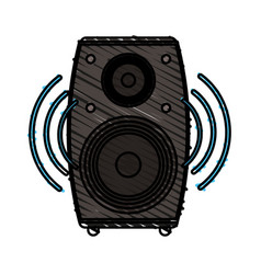 Colorful crayon silhouette of loudspeaker in wood vector