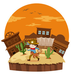 Cowboy in western town vector