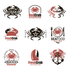 crab emblem set vector image