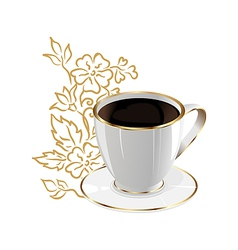 Cup coffee isolated with floral design elements vector