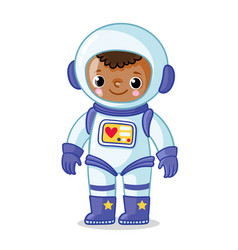 Dark-skinned astronaut in a space suit on a white vector