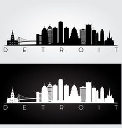 detroit usa skyline and landmarks silhouette vector image