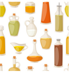 different food oil in bottles seamless pattern vector image