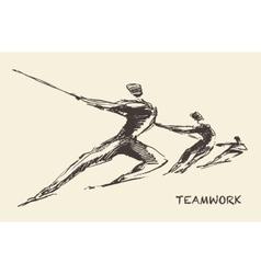 Drawn team teamwork partnership concept vector image vector image