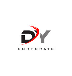 Dy modern letter logo design with swoosh vector