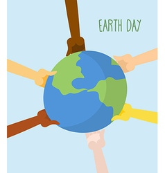 Earth Day People hands holding Earth vector