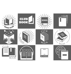 Education logo with books or reading emblems vector image