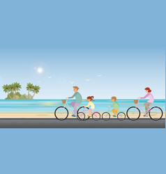 family are riding on bicycles on beach background vector image