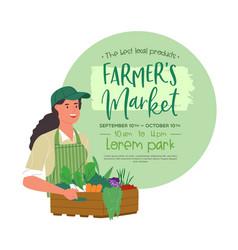 farmers market happy farm woman poster template vector image
