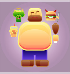 fat man with burger and broccoli on his shoulders vector image