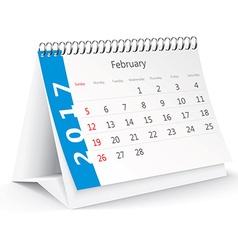 February 2017 desk calendar vector