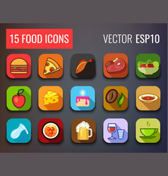 food icons set for menu of cafe and restaurant vector image