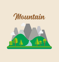 forest and mountain landscape vector image
