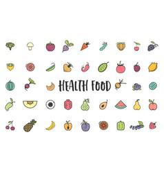 fruits and vegetables vegetarian set summer vector image