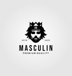 Gentleman king head logo vintage vector
