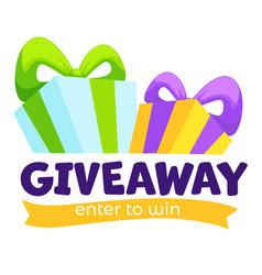 Giveaway enter to win banner for social media vector