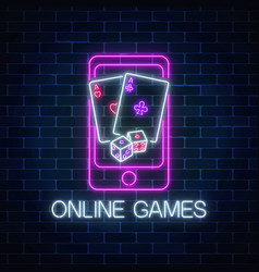 Glowing neon sign of online games application in vector