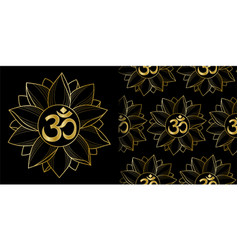 Gold om and lotus print and seamless pattern set vector