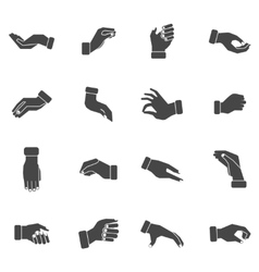 Hand palms grabbing black icons set vector image