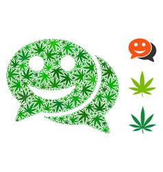 Happy chat collage of marijuana vector