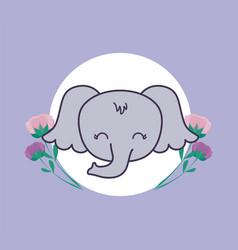Head cute elephant in frame circular with vector