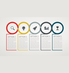 infographic design template with 5 step structure vector image