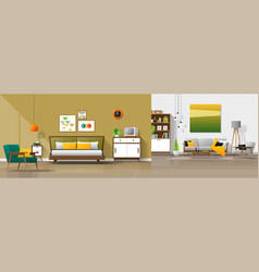 interior background with bedroom and living room vector image