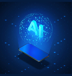 Isometric banner ai concept mobile phone with vector