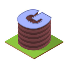 Isometric building letter g form vector