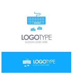 Keyboard interface type typing blue logo vector