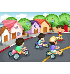 Kids playing on road vector