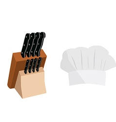 Knife holder and cook hat vector image