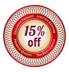 Label on 15 percent discount vector image
