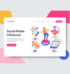 landing page template of social media influencer vector image