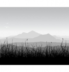 landscape with grass and mount vector image