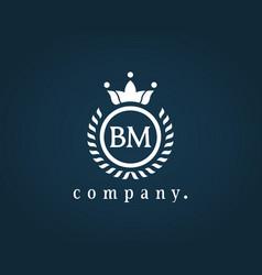 Letter bm b m luxury royal monogram logo design vector