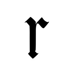 Letter r in gothic style alphabet symbol vector