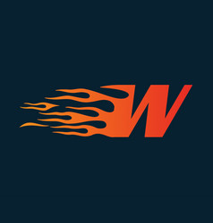 letter w flame logo speed logo design concept vector image