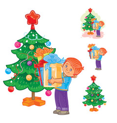 Little boy holds in hands christmas presents vector