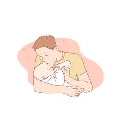 Love fatherhood family care concept vector