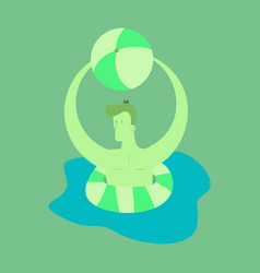 Man floating on water in lifeline person male vector